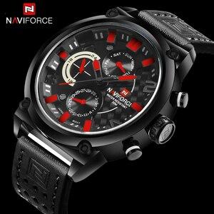 Image 1 - Naviforce Luxe Merk Man 3ATM Waterdicht Klok Mannen Analoge Quartz 24 Uur Datum Horloges Mannen Sport Lederen Horloge Original