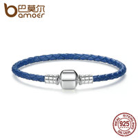 BAMOER 925 Sterling Silver Sapphire Blue Rope Genuine Leather Snake Chain DIY Bracelets For Women Fine