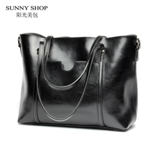 SUNNY SHOP Luxury Genuine Leather Women Messenger Bags Fashion Luxury Shoulder Bag Women Bags Designer Handbag With Purse