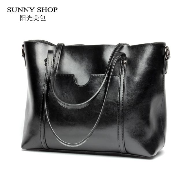 SUNNY SHOP Luxury Genuine Leather Women Messenger Bags Fashion Luxury Shoulder Bag Women Bags Designer Handbag With Purse