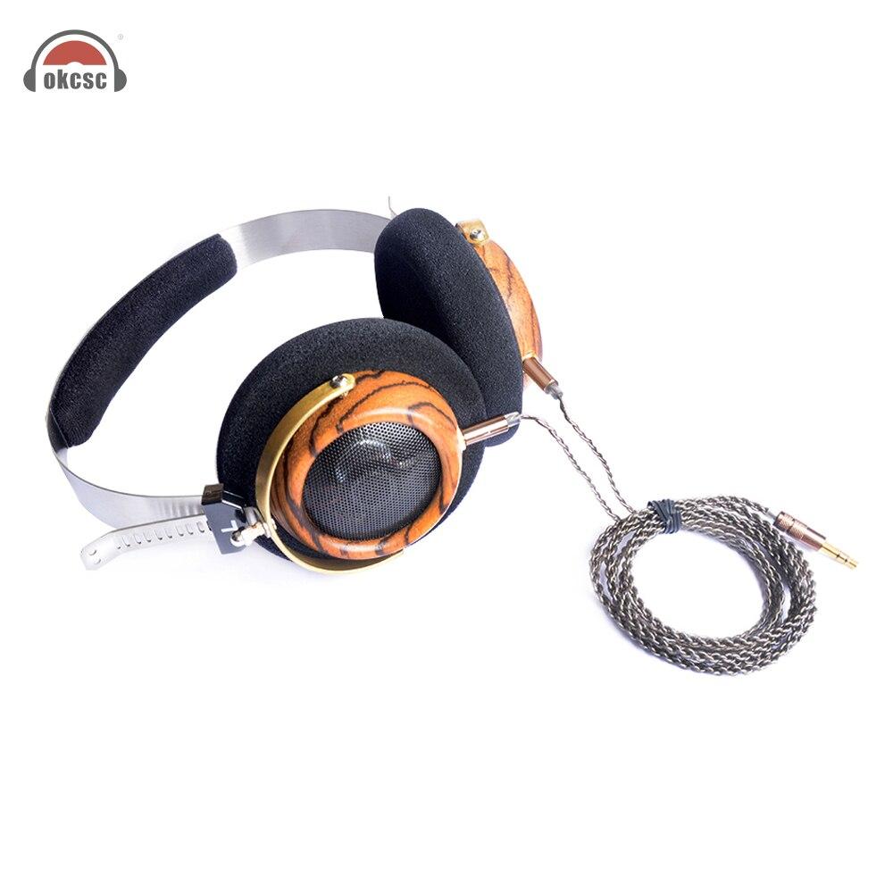 OKCSC M2 57mm Lautsprecher Öffnen Stimme HIfi Olive Holz Kopfhörer Mit 5N OCC Versilbert DIY 3,5mm Ersatz kabel Vintage