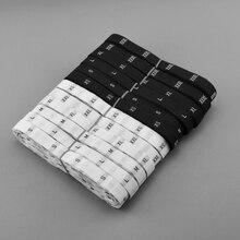 Белый/черный Дамасская полиэфирная ткань размер этикетка рубашка/платье/куртка Алфавит одежда метки размер этикетки 500 шт/партия