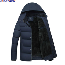 NORMEN hombres Parkas Casual Solid Fleece Hombres Chaqueta de Invierno Con Capucha Gruesa Advierten Abrigo Acolchado Hombre Jaqueta masculino Inverno