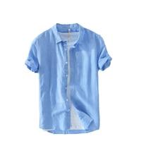 Italy style Suehaiwe's brand short sleeved linen shirt men summer solid fashion men shirts casual cotton shirt mens camisa 3XL