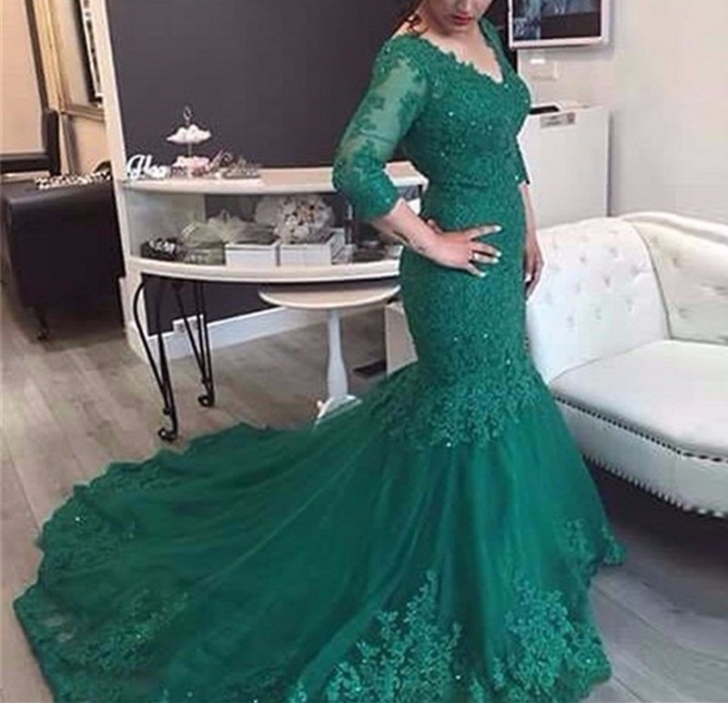 Long Sleeves Lace   Evening     Dress   Mermaid Plus Size V Neck Beads Arabic Muslim Women Gold Formal Prom   Evening   Gowns Robe De Soiree