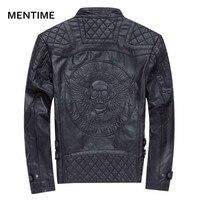 2018 Men Leather Jacket Genuine Cowhide Casual Coat Fashion Skulls Black Beige Color Clothing Real Premium