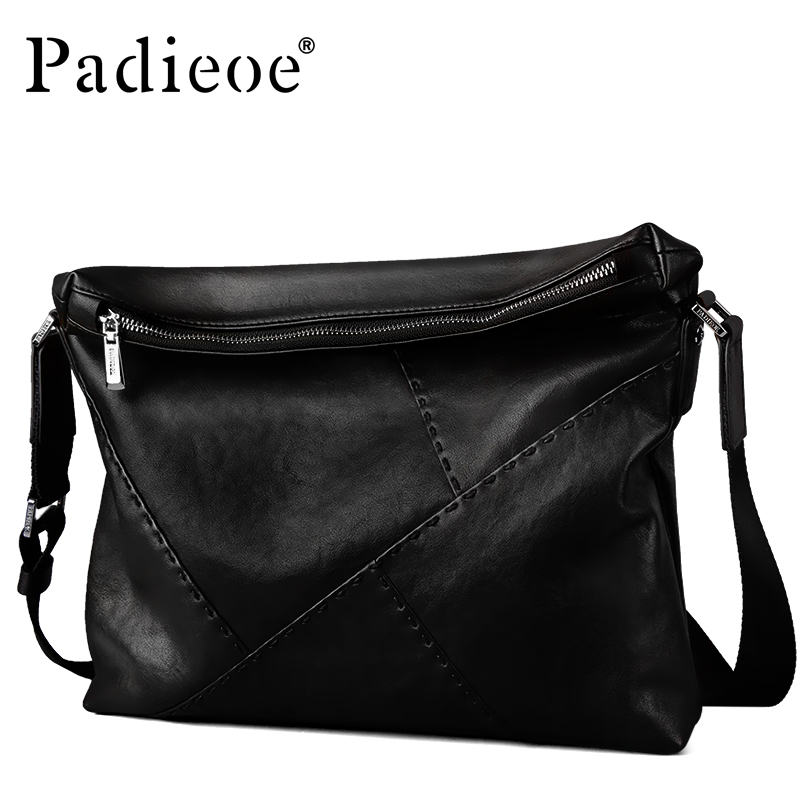 Padieoe Luxury Brand Men Genuine Leather Shoulder Messenger Bags Black Male Handbags Business Man Crossbody Sling Crossbody Bag padieoe new arrival luxury genuine cow leather men handbag business man fashion messenger bag durable shoulder crossbody bags