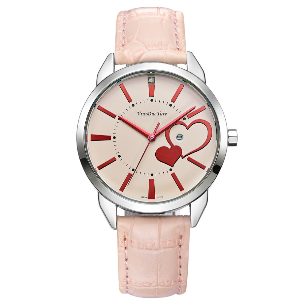 Ladies Women's Fashion Style Casual Watch Leather Round WristWatch Heart Love Pattern Dial with Pink White Black Yellow relogio ladies women s fashion style casual watch leather round wristwatch heart love pattern dial with pink white black yellow relogio