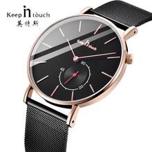 цена KEEP In Touch Top Brand Watches Men Stainless Steel Ultra Thin Watches Men Classic Quartz Men's Wrist Watch Relogio Masculino онлайн в 2017 году