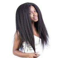 13X6 большая часть Синтетические волосы на кружеве человеческих волос парики Kinky прямая 150% плотность бразильский Синтетические волосы на кру