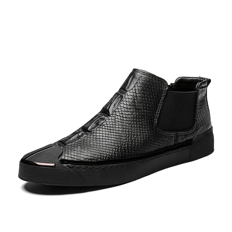 Men's Casual Shoes 2019 Fashion Autumn Mens Leather Casual Shoes Snake Grain High Top Loafers Shoe For Men Male Slip On Skate Shoes 39-44 Spare No Cost At Any Cost Men's Shoes