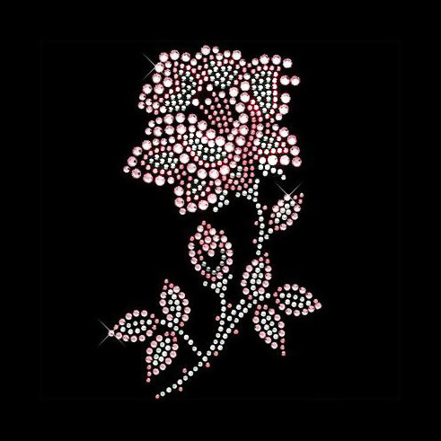 2pc lot pink and white Flower design stone iron on crystal transfers design  strass iron hot fix rhinestone motif appliques 96083b4ffe15