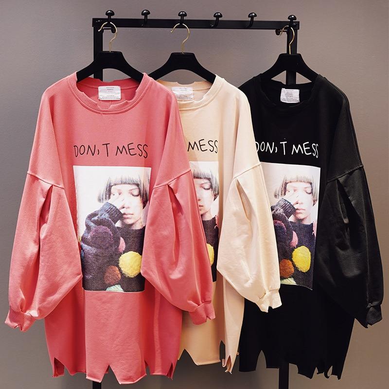 kaki Long Noir blanc Outwear Impression Capuche Chauve Puff Vêtements Loisirs jaune Manteaux Femme Féminin Manches Nouvelle 2018 souris Automne Shirt Pull À Red vert Portrait brick 0f8wHqW1SU