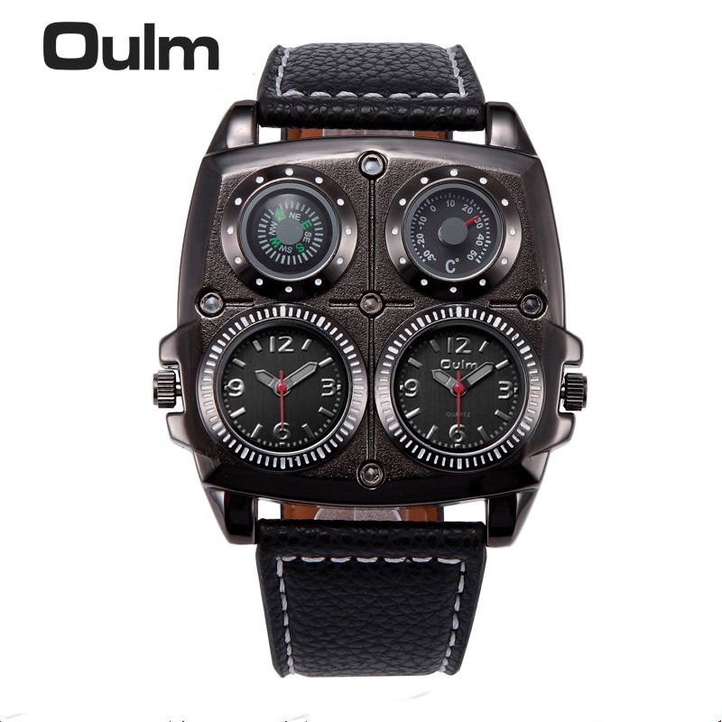 OULM Men's Watches Cool Sports Casual Quartz Wristwatch Leather Strap Oversize Military Compass Dial 2 Time Zone DZ Watch Men 2 time zone army military oulm watch for men leather strap quartz japan movt quartz sports wristwatch