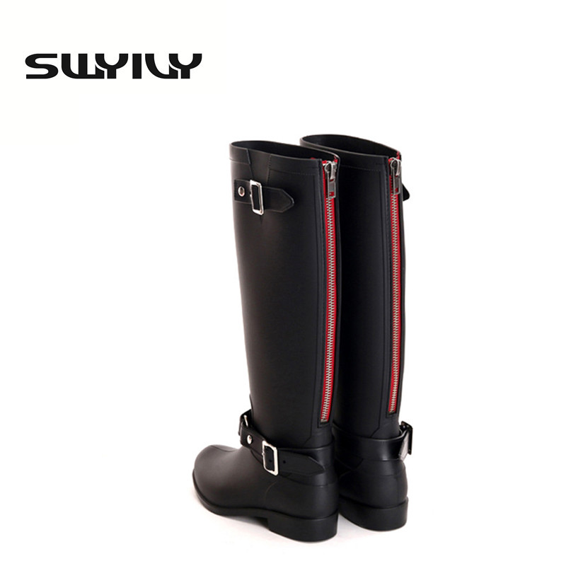 ФОТО Punk style zipper tall boots women's pure color rain boots outdoor rubber water shoes for female 36-41 plus size