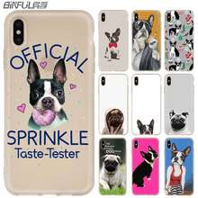 Silicone Suave Caso Capa PARA O iPhone 5.8 6.1 6.5 2019 Max XR Para iPhone 5 5S 11 X XS SE 6S 6 4 4S 7 8 Além de Boston Terrier cão pug(China)