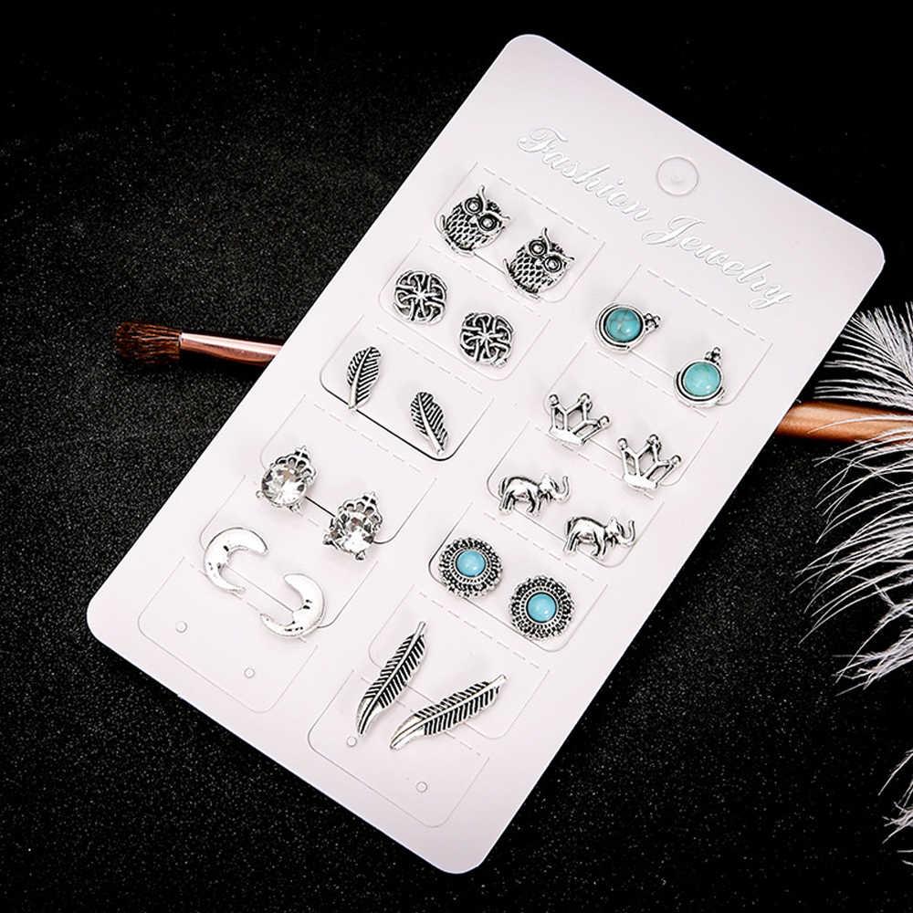 วินเทจโบราณเงินชุดต่างหูผู้หญิงเรขาคณิตดอกไม้สีขาวสีดำ Rhinestone Pericing สตั๊ดต่างหูเครื่องประดับ
