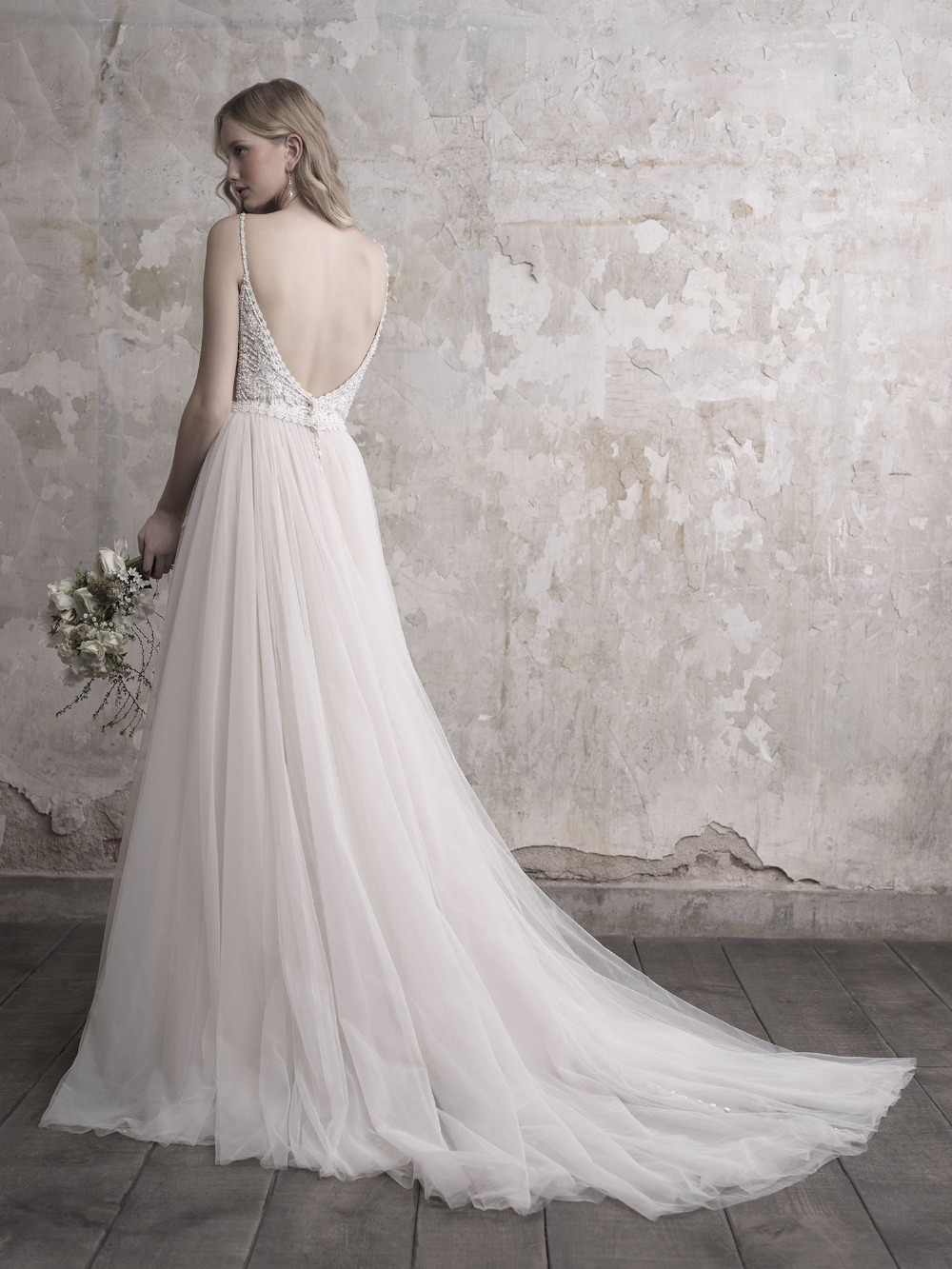 Image 5 - Gorgeous Pearls Beads Lace Applique Tulle V neck Neckline Sweep Train Wedding Dress with Backless A line Beads Spaghetti Straps-in Wedding Dresses from Weddings & Events