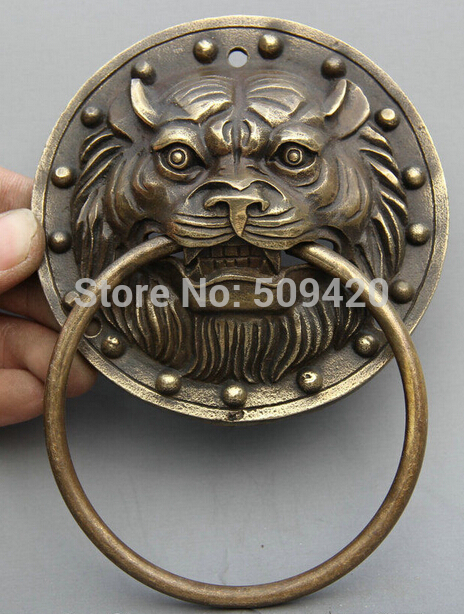 Old Chinese Bronze Copper FengShui Wealth Lion Head Statue Mask Door Knocker knocker     - title=