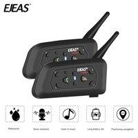 2018 2PCE EJEAS V6 Bluetooth Motorcycle Intercom Moto Headset Communicator Waterproof 1200m Interphone For 6 Riders