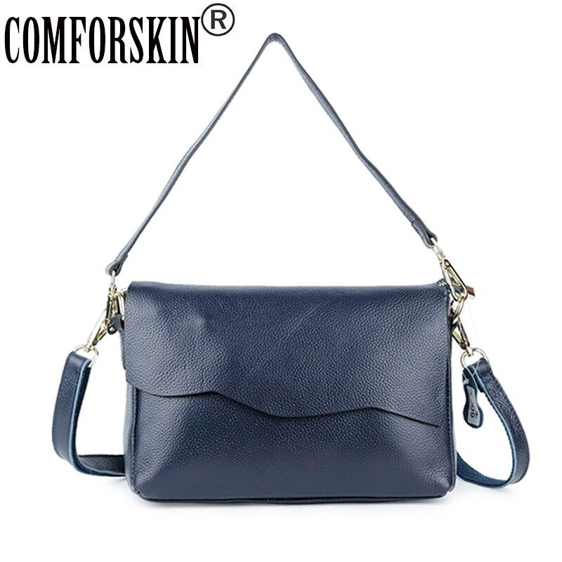 COMFORSKIN Brand Genuine Leather Women s Totes New Arrivals European American Feminine Messenger Bags New Arrivals