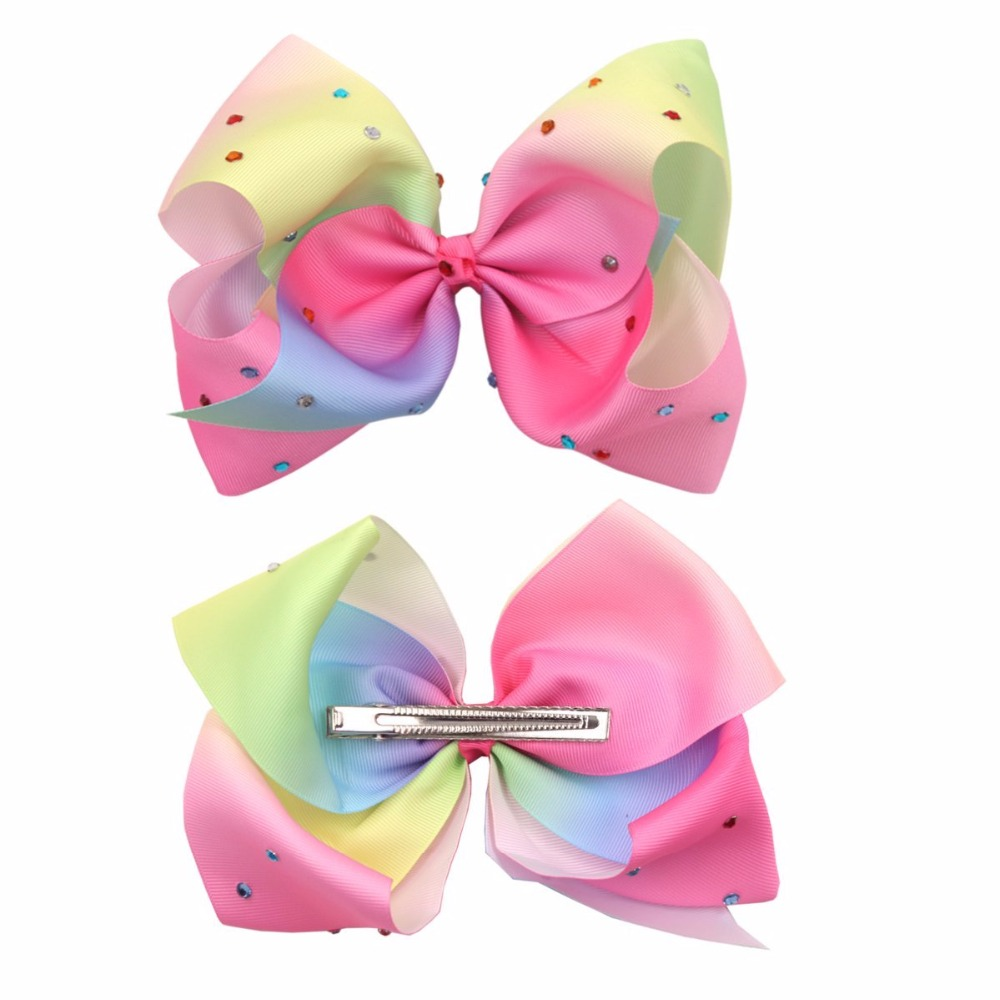 one piece Girls Handmade stunning Hair Bow with Alligator Clip Ribbon leopard