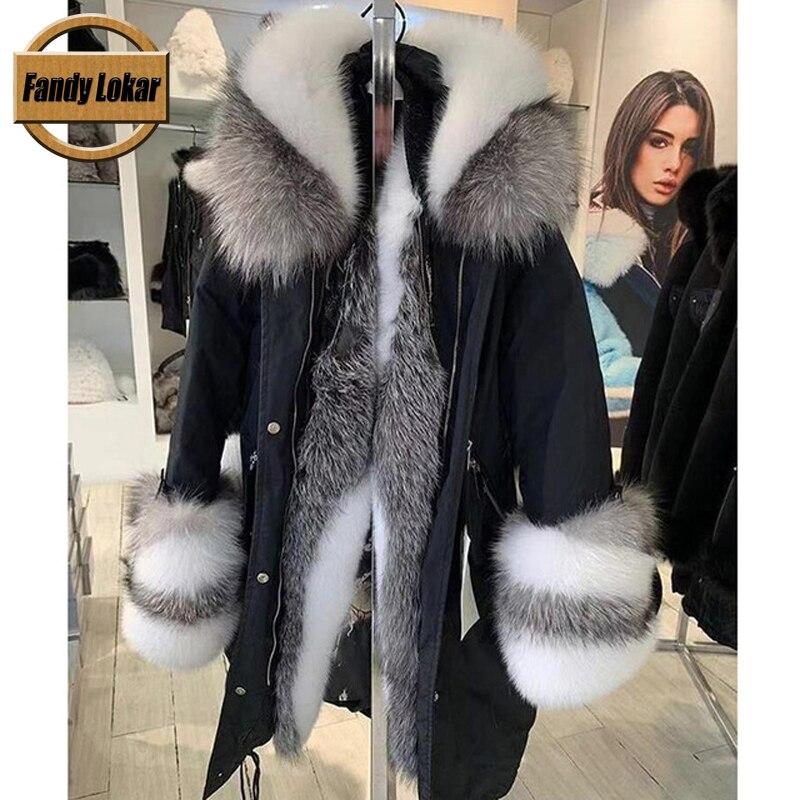 Fandy Lokar Real Fur Parka Women Winter Jacket Nature Sliver Fox Fur Hooded Coats Real Rabbit Fur Lining Jacket Female Fur Coat