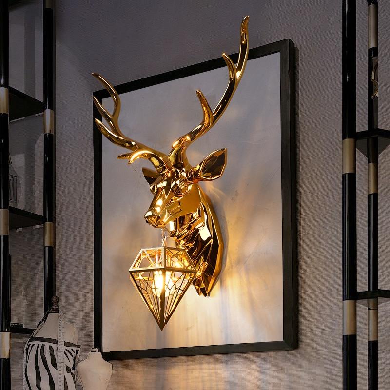 Lámpara de pared de cuernos nórdicos, creativas lámparas de pared, lámpara de ciervo para dormitorio, luces de pared de claxon de cocina para decoración del hogar, apliques