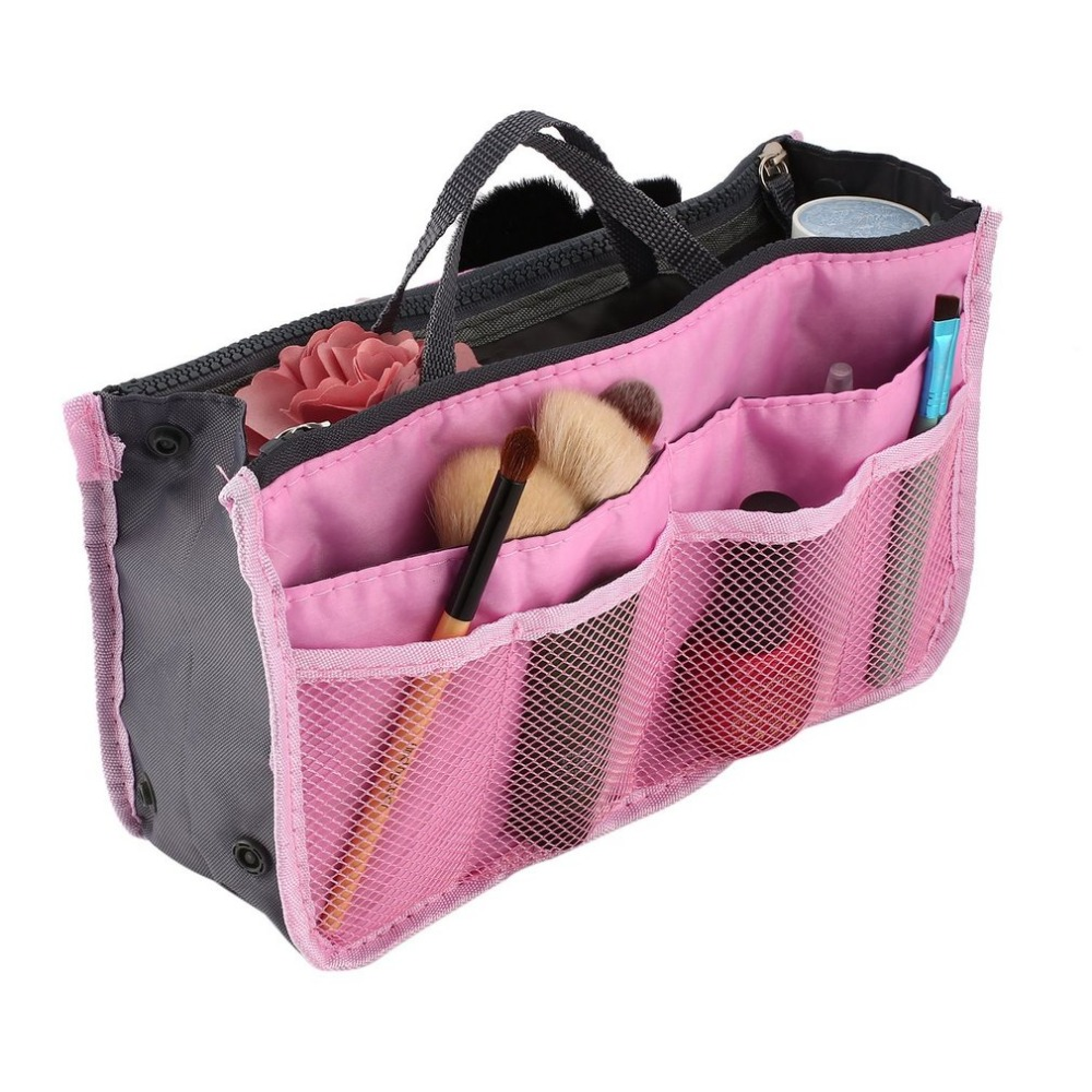 2018 Women Cosmetic Bag Travel Organizer Makeup Bag Beautician Double Zipper Makeup beauty Case Travel Cosmetics 15 Colors Bag 2018 travel cosmetic bag packing cubes print makeup bags beauty case two tier cosmetics box waterproof organizer bag