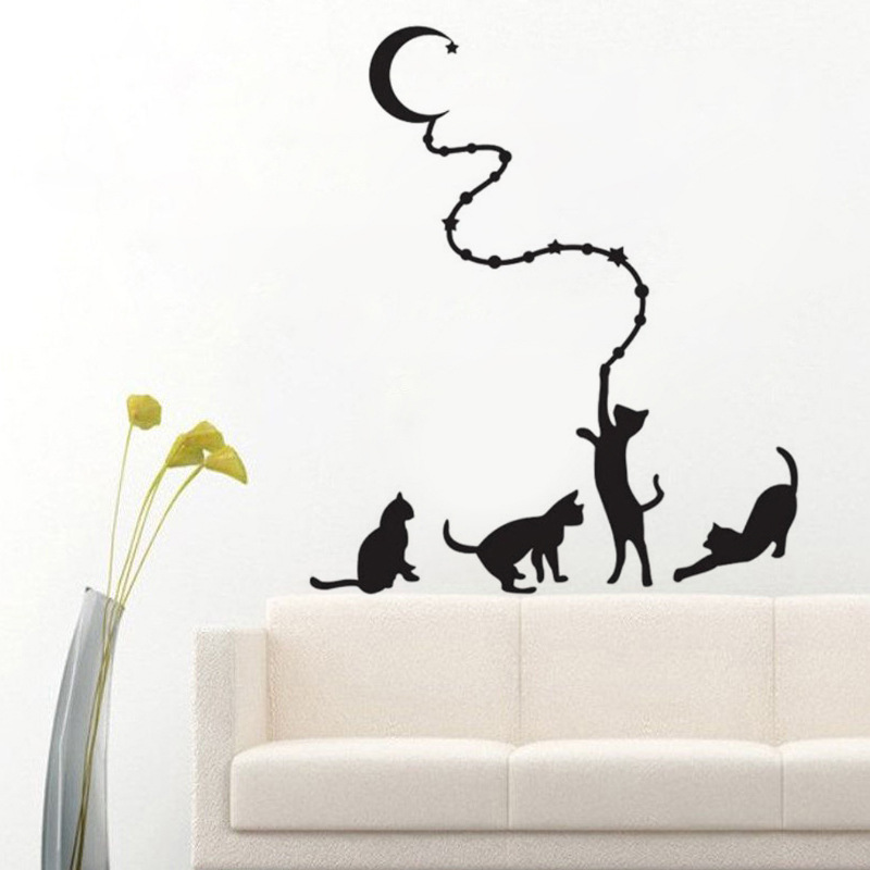 Hot sale new cartoon DIY moon and cats Sticker for bed room Wall Sticker Decoration Fluorescent Living Room Home Decoration
