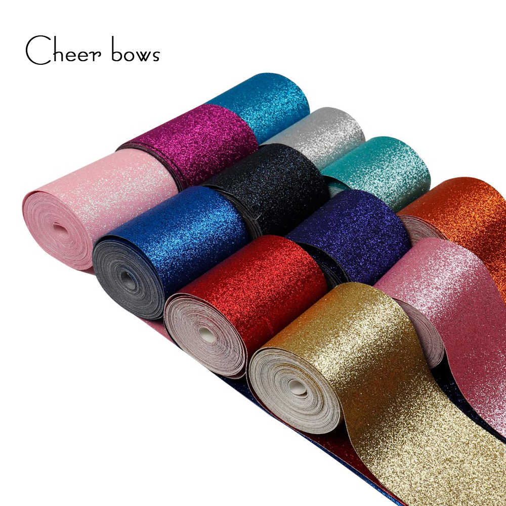 "2Y/lot 3"" 75mm Christmas New Glitter Ribbon Solid Color Decorative Ribbon DIY Hairbows Accessories Wedding Party Decoration"