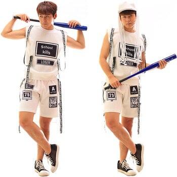 S-5XL!!! 2018   A male singer DJ white hip-hop letters buiter straps vest costumes suit   The singer's clothing