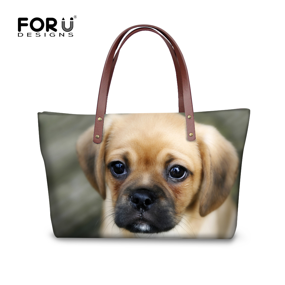 FORUDESIGNS Bags for Women 2017 Handbags for Girls Casual Messenger Hand Bag Animal Puppy Shoulder Shopping bag Women Beach Bag