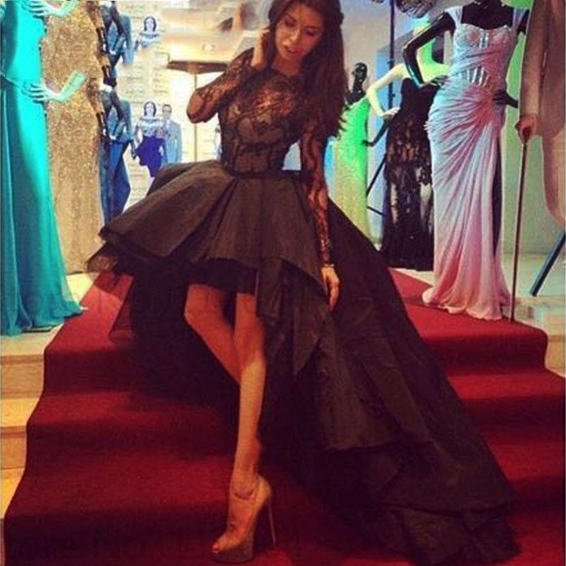 2019 Long Sleeves Robe de Soiree Asymmetrical Prom Dresses Black Taffeta Formal Party Gowns Sexy Lace