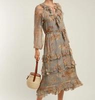 Для женщин рябить отделкой v образным вырезом Серый неукротимая каскад Floral print Silk платье с поясом