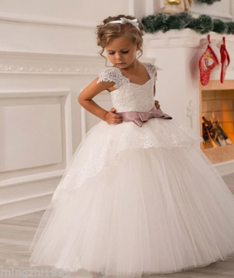 2016 Best Selling Wedding Party Formal Flower Girls Dresses Lace Bow Ball Gown Pageant Birthday Communion Children Princess In Girl From