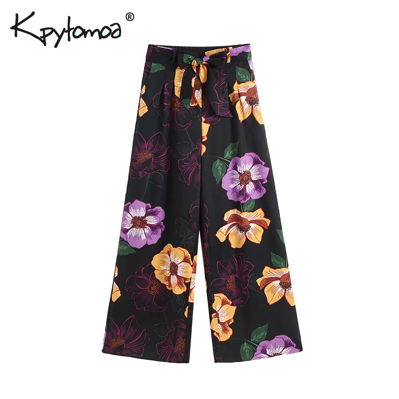 Vintage Floral Print   Wide     Leg     Pants   Women 2019 Fashion High Bow Elastic Waist Pockets Ladies Trousers Casual Pantalones Femme