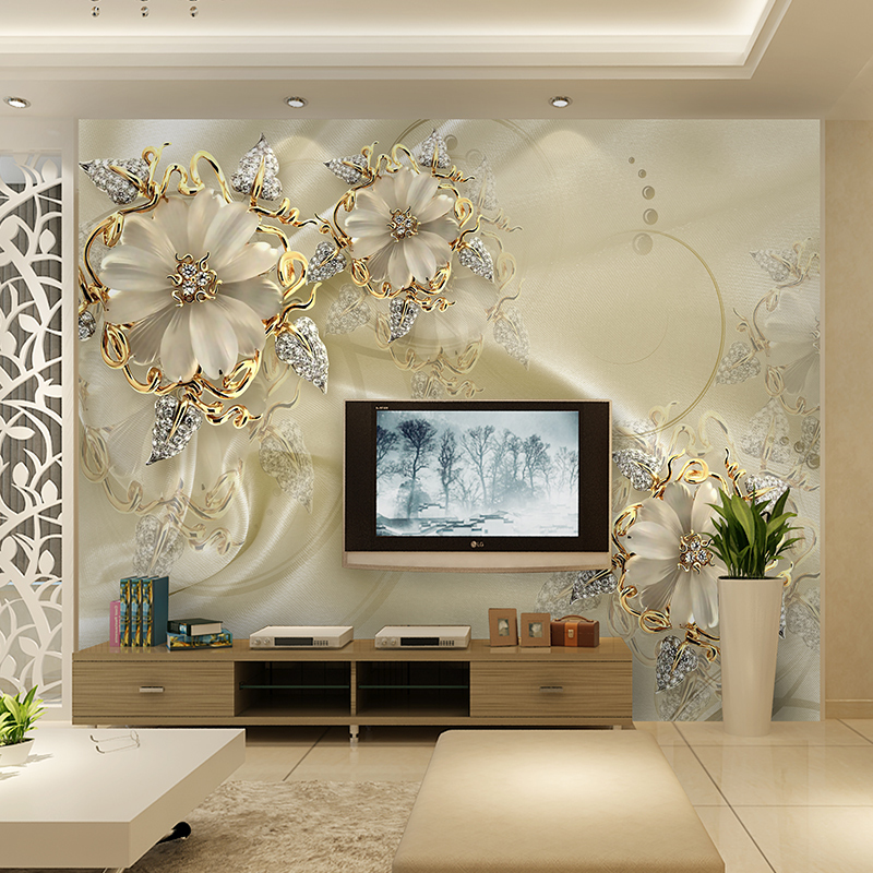 Custom 3D Photo Wallpaper For Walls European Morden Luxury Style Beautiful Flower TV Background Mural Wall Painting Wallpaper 3D custom 3d mural wallpaper european style painting stereoscopic relief jade living room tv backdrop bedroom photo wall paper 3d