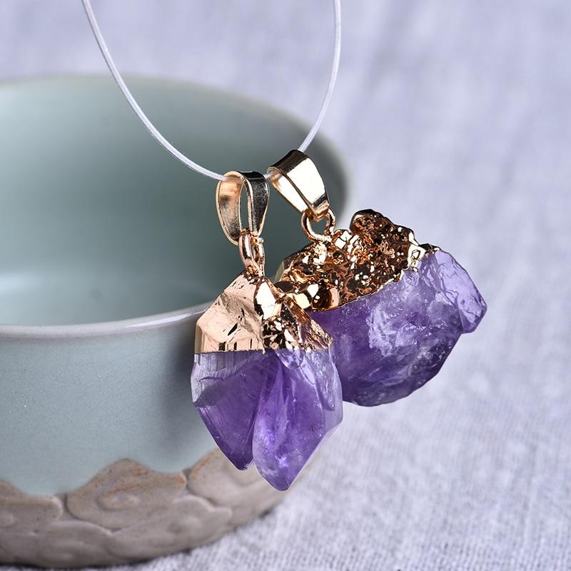 Natural  Necklace Quartz Crystal Stone Point Chakra Healing Gemstone Pendant-1pc