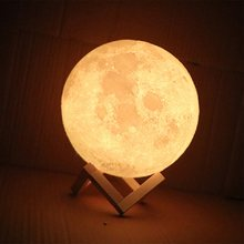 Rechargeable 3D Print Moon Lamp 2 Color Change Touch Switch Bedroom Bookcase Night Light Home Decor Creative Gift(China)