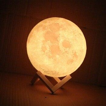 цена Rechargeable 3D Print Moon Lamp 2 Color Change Touch Switch Bedroom Bookcase Night Light Home Decor Creative Gift онлайн в 2017 году