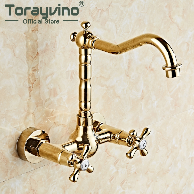 360 Swivel Antique Brass Bathroom Basin Sink Mix Tap Dual Handles Wall Mounted Kitchen Basin Sink Mixer Faucet antique brass dual cross handles swivel kitchen bathroom sink basin faucet mixer taps anf103