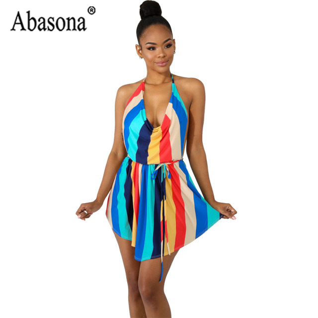 5d5b4a8e0d Abasona Multicolor Striped Sleeveless Backless Playsuit Women Sexy Halter  Lace Up Jumpsuit Woman Short Rompers Summer Jumpsuit