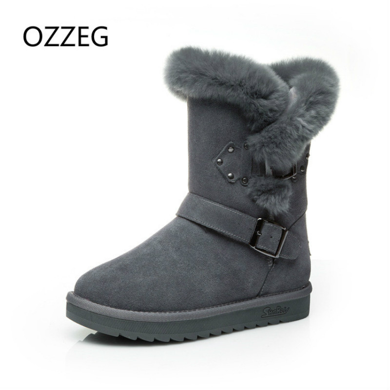 Snow Boots Brand Women Winter Boots Warm Genuine Leather Shoes Real Fur Plush Women Fashion Buckle Casual Boots High Quality de la chance winter women boots high quality female genuine leather boots work