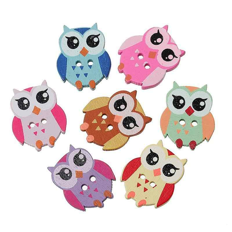 100pcs Owl Shape 2 Holes Botton Owl Wooden Buttons Sewing Scrapbooking Owl Pattern Decorative Buttons Random Colors Mixed