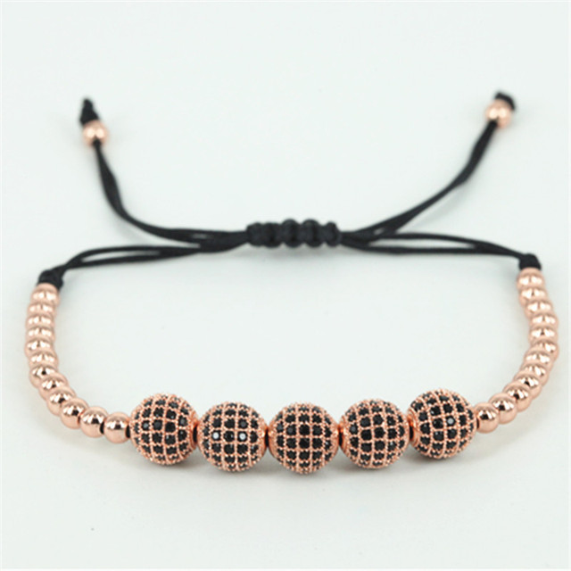 Famous Brand Men Macrame Bracelets 8mm Pave Setting Black CZ Ball & 4mm Copper Beads Anil Arjandas Braiding Bracelet for Men