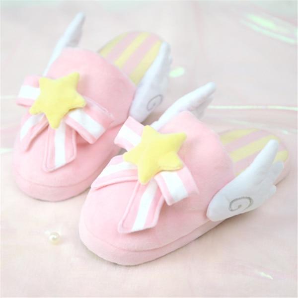 Card Captor Sakura Kinomoto Sakura Cosplay Shoes Pink Cute Fluffy Slippers