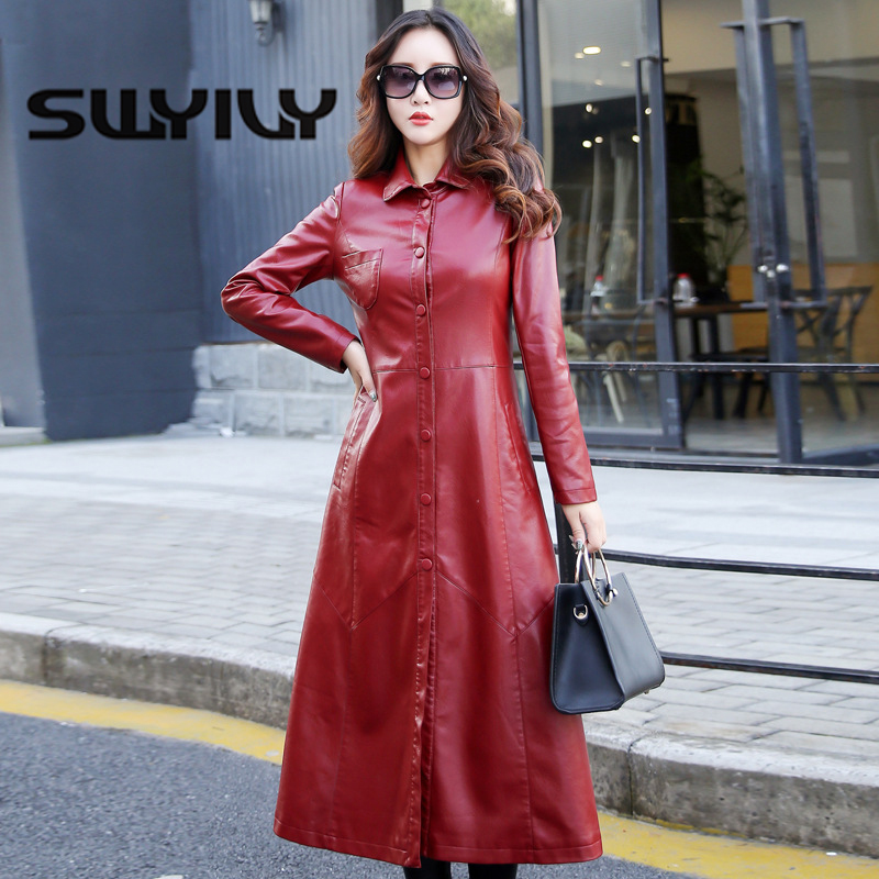 SWYIVY Women Autumn Winter Leather Coats PU Large Size 5XL 2018 New Female Slim Long Desgin Jacket Motobiker Fur Warm Woman Coat