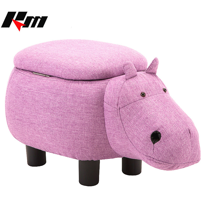 Multifunction Cute Animal Hippo Cloth Storage Shoe Bench Durable Footstool Sofa with PV Sturdy Legs Bearing 80kg Gifts For Kids