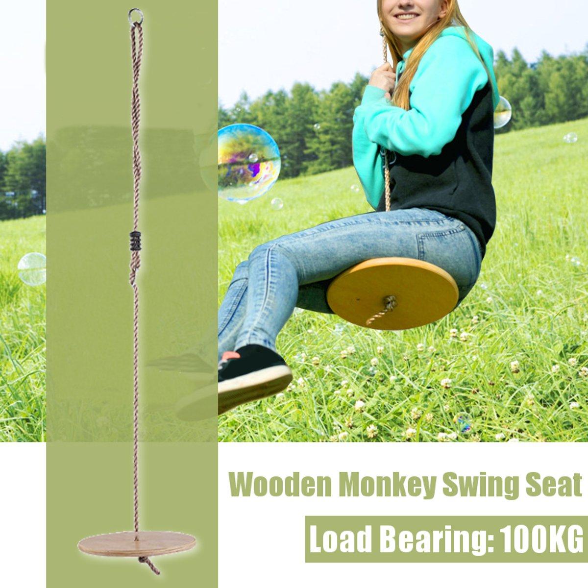 30cm Round Garden Tree Swing Wooden Kids Toy Swing Outdoor/Indoor Hanging Children Playing Seat Gifts 1.8m Rope 100KG Safe